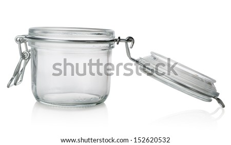 Glass jar with lid isolated on a white background