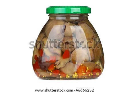 Glass jar with marinated suillus mushrooms isolated on the white background - stock photo