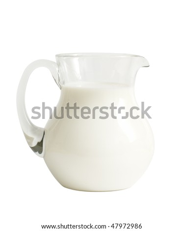 Glass jar with milk isolated on white - stock photo