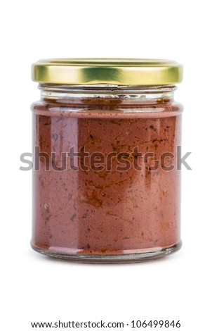 Glass jar with paste maded from red olives (Calamata)  isolated on the white background - stock photo