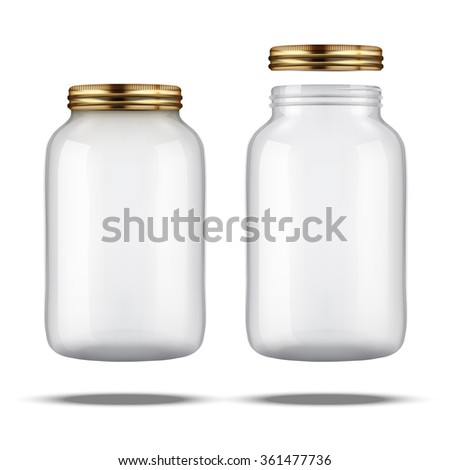 Glass Jars for canning and preserving. With cover and without lid. - stock photo