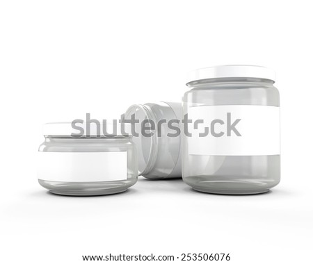 Glass jars isolated on white background. 3d render image. - stock photo