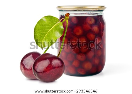 Glass jars with cherry jam and fresh cherries on a white background - stock photo