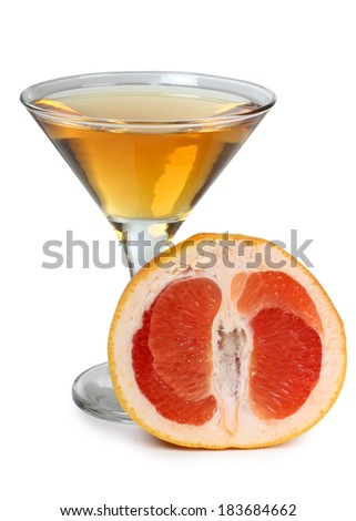Glass jars with grapefruit juice on a white background - stock photo