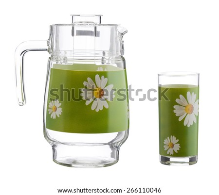 Glass jug with an empty glass, kitchen set, isolated on white - stock photo