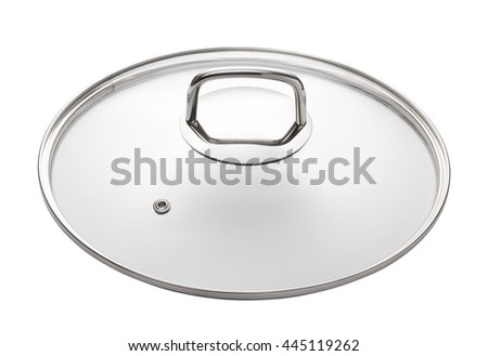 glass lid for cookware, kitchen utensils isolated on white - stock photo