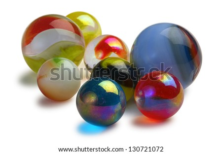 glass marbles on white background