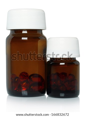 Glass medical bottles on white background   - stock photo
