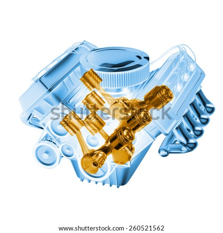 glass motor with inner parts - stock photo
