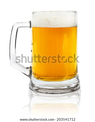 glass mug with beer isolated on white - stock photo