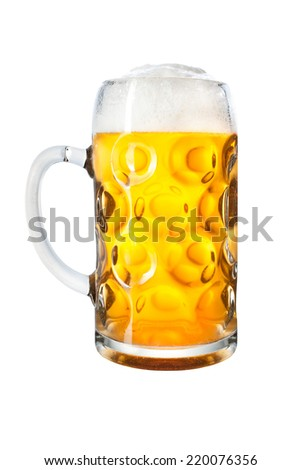 Glass mug with beer isolated on white background
