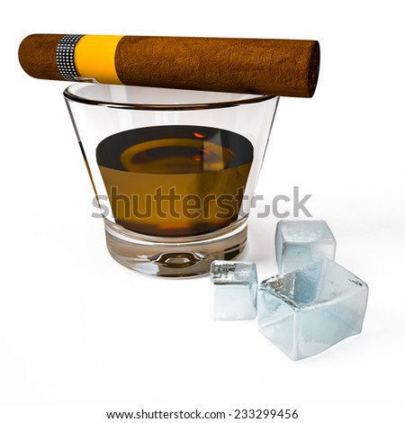 Glass of aged whiskey with cigar and ice cubes isolated on white - stock photo