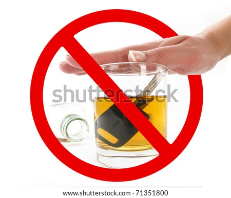 Glass of alcohol in prohibition signal