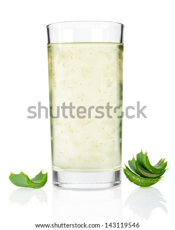 Glass of aloe vera juice isolated on white background - stock photo