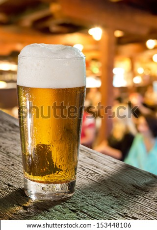 glass of beer in pub