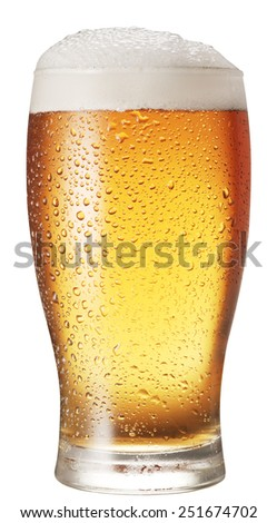 Glass of beer isolated on a white background. Clipping paths. - stock photo