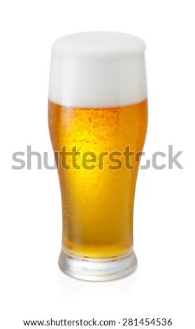 Glass of beer isolated on a white background with clipping path