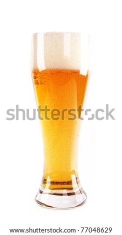 Glass of beer, isolated on white background - stock photo