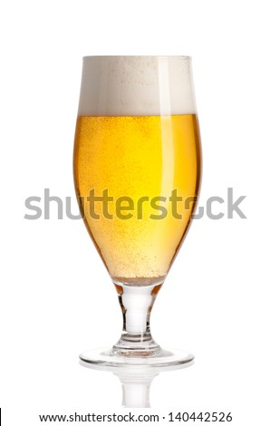 Glass of beer isolated on white background. File contains path to cut. - stock photo