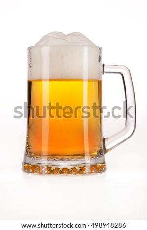 Glass of beer on isolated background