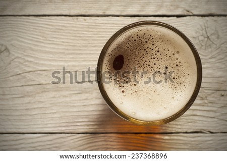 glass of beer top view - stock photo