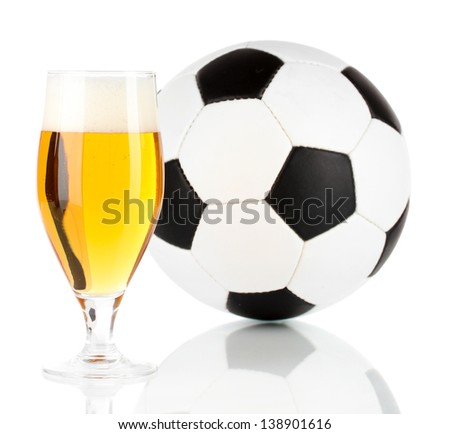 Glass of beer  with ball isolated on white