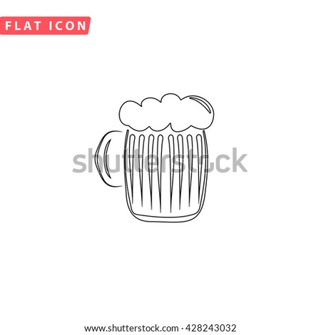 Glass of beer with foam. Black outline simple pictogram on white. Line icon - stock photo