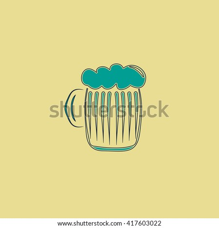 Glass of beer with foam. Grren simple flat symbol with black stroke over yellow background - stock photo