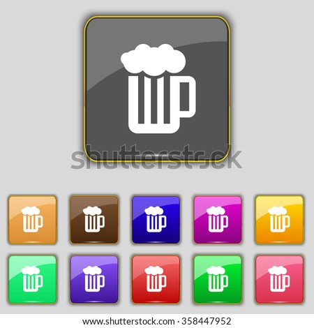 Glass of beer with foam icon sign. Set with eleven colored buttons for your site. illustration - stock photo