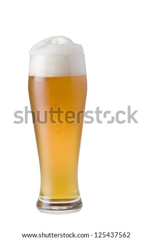 Glass of beer with froth isolated over white background