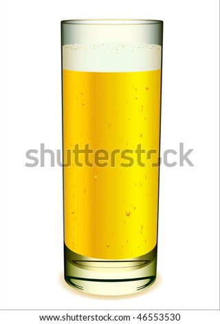 Glass of beer with white head and gas bubbles