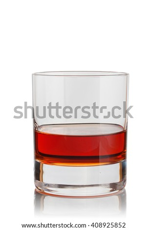 glass of brandy on a white background. - stock photo