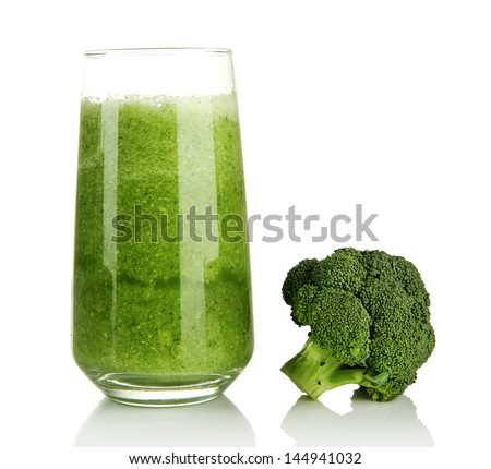 Glass of broccoli juice, isolated on white - stock photo