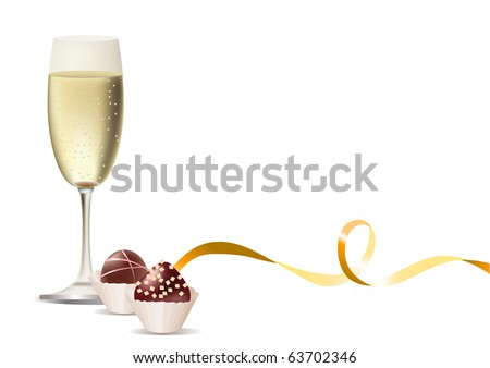 Glass of champagne and sweets and ribbon. Raster version. Vector version is in my gallery. - stock photo