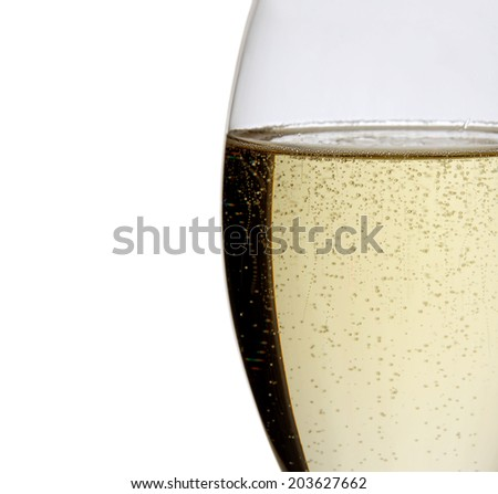 Glass of champagne isolated on white.Studio shot. - stock photo