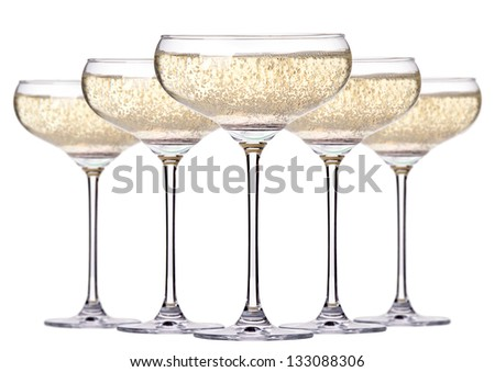 glass of champagne set isolated on a white background - stock photo