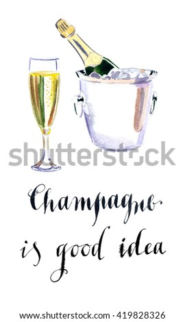 Glass of champagne with bottle in metal container, watercolor, hand drawn - Illustration - stock photo