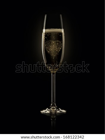 Glass of champagne with heart on black background - stock photo