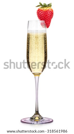 Glass of champagne with strawberry isolated on a white background - stock photo
