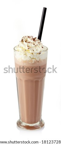 Glass of chocolate milkshake with whipped cream isolated on white background - stock photo