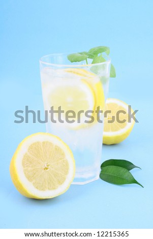 Glass of clean fresh water with lemon - stock photo
