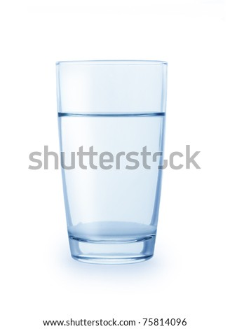 Glass of clean water isolated on a white background - stock photo