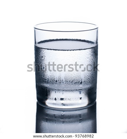Glass of clear cold water isolated on white background - stock photo