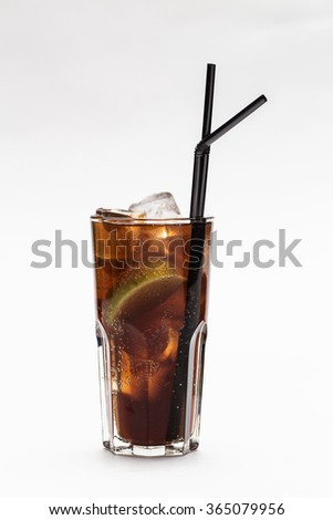 glass of cocktail with cola on white background