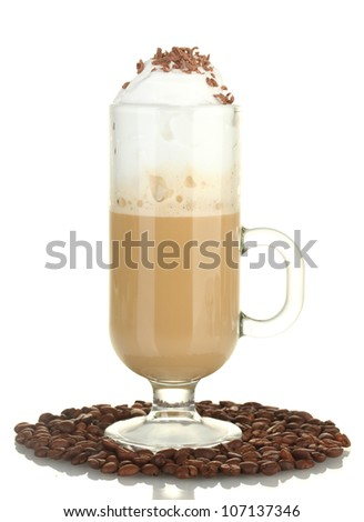 glass of coffee cocktail with coffee beans isolated on white - stock photo