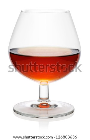 Glass of cognac, isolated on the white background, clipping path included. - stock photo