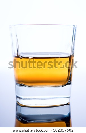glass of cognac on a white background