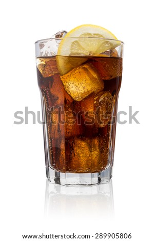 glass of coke (Cola) with ice cubes and lemon slice isolated on white background - stock photo