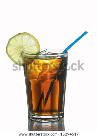 Glass of Coke with lemon, icecubes and a straw