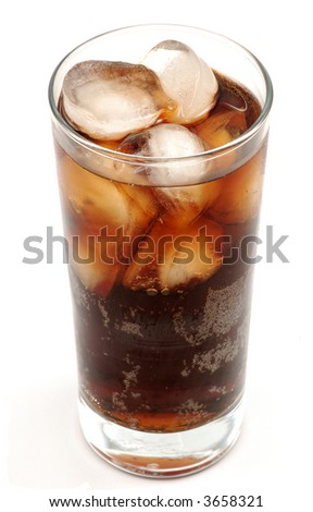 Glass of cola drink with ice, isolated over white background